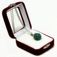 """Аромакулон """"Фантазия"""" (камень – малахит) на цепочке, в подарочной упаковке, 6х5 см"""